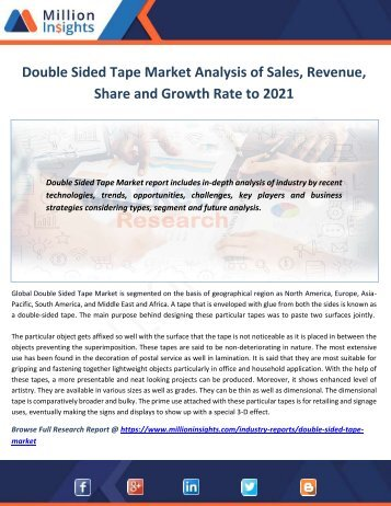 Double Sided Tape Market Analysis of Sales, Revenue, Share and Growth Rate to 2021
