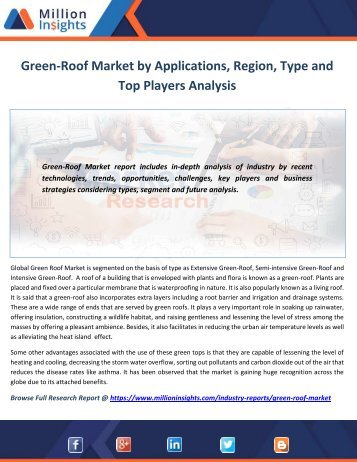 Green-Roof Market by Applications, Region, Type and Top Players Analysis