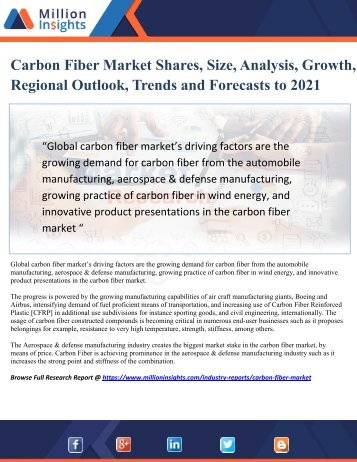 Carbon Fiber Market Shares, Size, Analysis, Regional Outlook, Growth and Forecasts to 2021