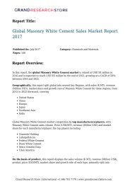 Global Masonry White Cement Sales Market Report 2017