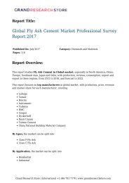 Global Fly Ash Cement Market Professional Survey Report 2017
