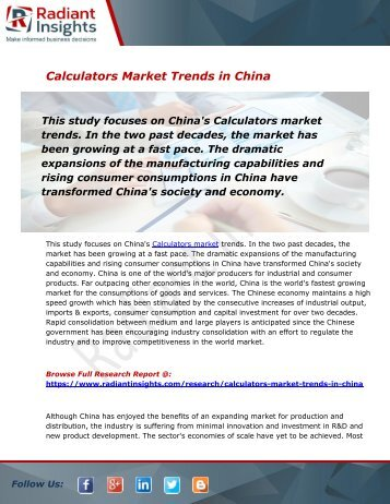 Global and China Calculators Market Size, Share, Trends, Analysis and Forecast Report to 2025:Radiant Insights, Inc