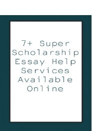 7+ Super Scholarship Essay Help Services Available Online