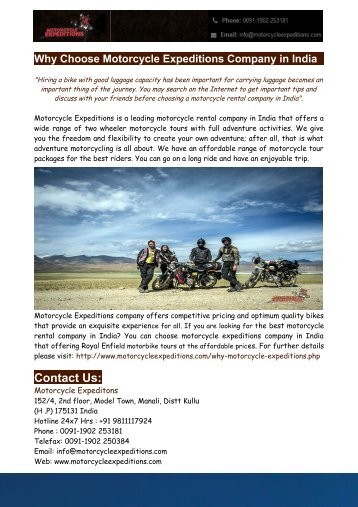 Motorcycle Rental Company In India - Motorcycle Expeditions