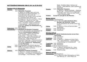 GOTTESDIENSTORDNUNG VOM 01.04. bis 22.04.2012 - CSU