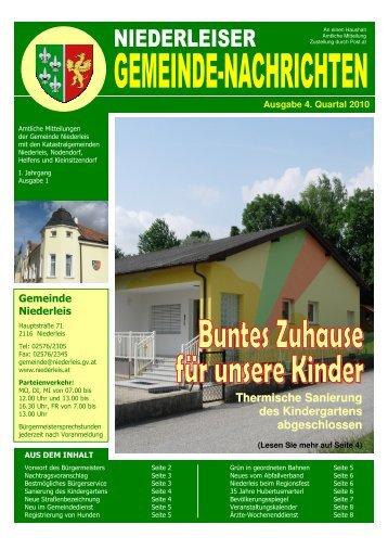 Thermische Sanierung des Kindergartens abgeschlossen - Niederleis