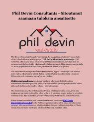 Phil Devin Consultants - Sitoutunut saamaan tuloksia ansaitsette