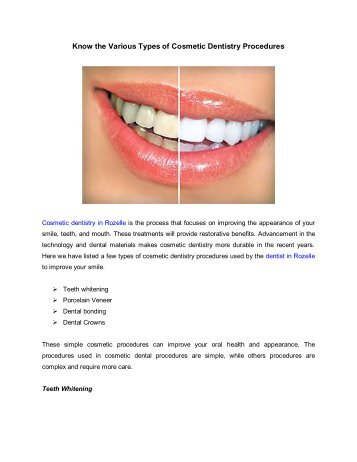Know the Various Types of Cosmetic Dentistry Procedures