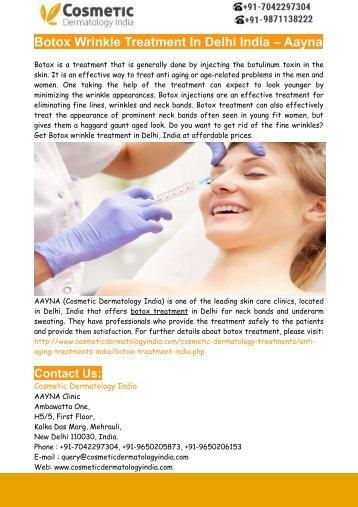 Botox Wrinkle Treatment In Delhi India – Aayna