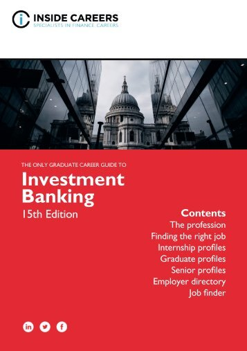 Inside Careers Guide to Investment Banking 15th Edition