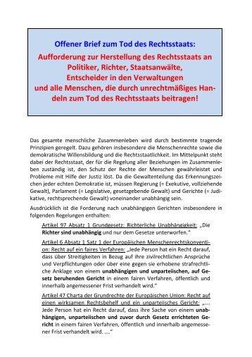 Offener Brief Tod Rechtsstaat