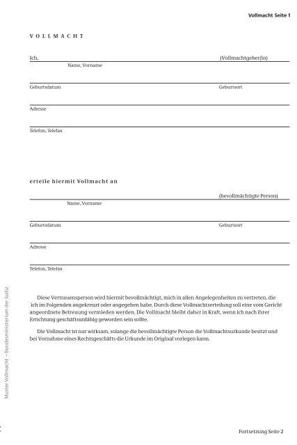 Vorsorgevollmacht Rechtssicheres Muster Zum Download 1