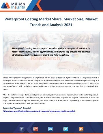 Waterproof Coating Market Share, Market Size, Market Trends and Analysis 2021