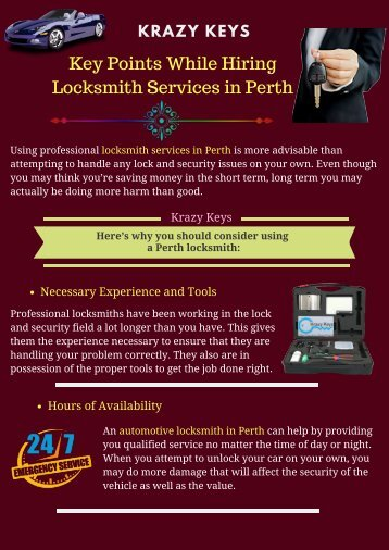 Key Points While Hiring Locksmith Services in Perth