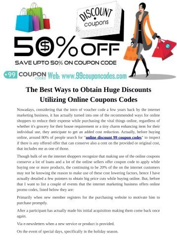 The best ways to Obtain Huge Discounts Utilizing Online Coupons Codes