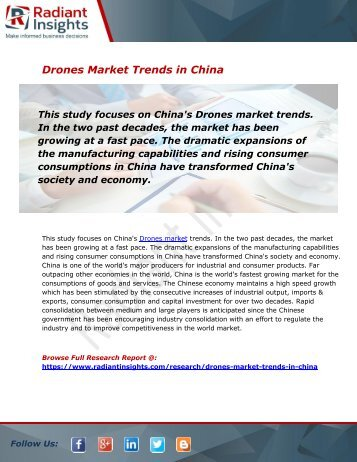 Global and China Drones Market Size, Share, Trends, Analysis and Forecast Report to 2026:Radiant Insights, Inc