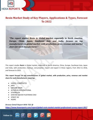 Resin Market Study of Key Players, Applications & Types, Forecast To 2022