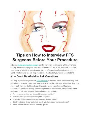Tips on How to Interview FFS Surgeons Before Your Procedure