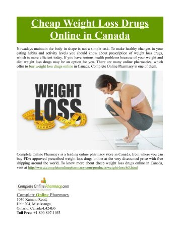 Cheap Weight Loss Drugs Online in Canada