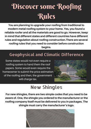 Discover some Roofing Rules