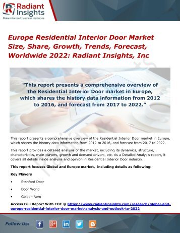 Europe Residential Interior Door Market Size, Share, Growth, Trends, Forecast, Worldwide 2022 Radiant Insights, Inc