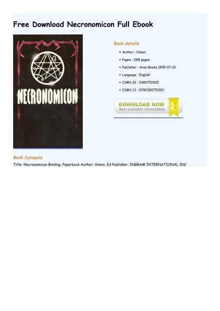 necronomicon pdf download free