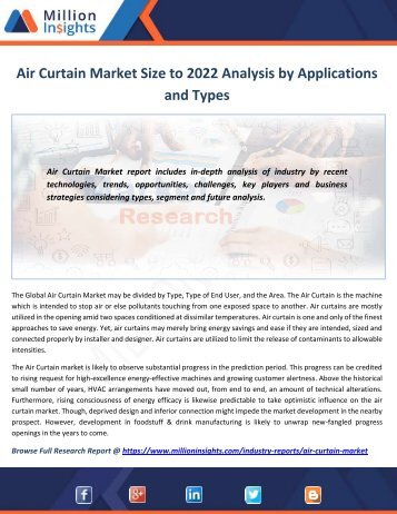Air Curtain Market Size to 2022 Analysis by Applications and Types