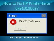 How to Fix HP Printer Error 0x61011be5?
