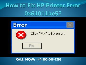 How to Fix HP Printer Error 0x61011be5?