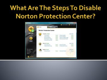 What Are The Steps To Disable Norton Protection Center