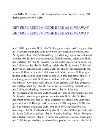 Free NBA 2k18 redeem code online download generator activation key xbox one ps4
