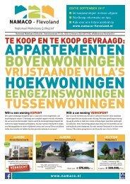 NAMACO Flevoland Woonmagazine, uitgave september 2017