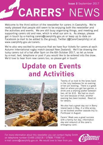 Carers News 3 Sep 2017