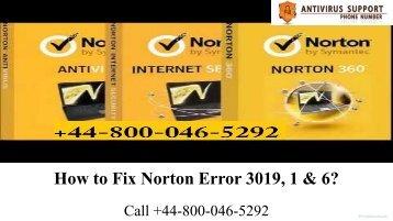 44-800-046-5292 Norton Error 3019, 1 & 6