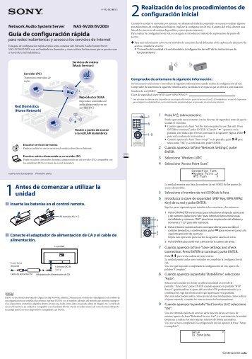 Sony NAS-SV20DI - NAS-SV20DI Guide de mise en route Espagnol
