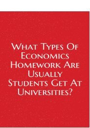 What Types of Economics Homework Are Usually Students Get at Universities?