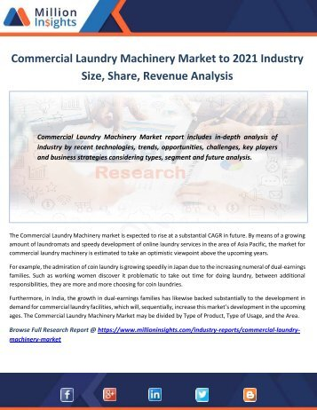 Commercial Laundry Machinery Market to 2021 Industry Size, Share, Revenue Analysis