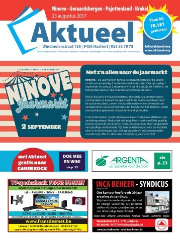 Editie Ninove 23 augustus 2017