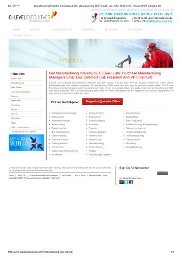 Manufacturing  Professionals Mailing Lists