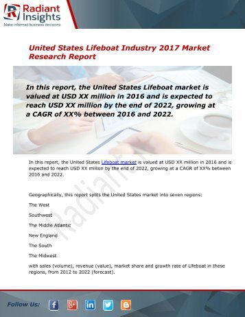Global and United States Lifeboat Market Size, Share, Trends, Analysis and Forecast Report to 2022:Radiant Insights, Inc
