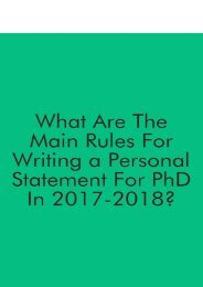 What Are the Main Writing Rules for Personal Statement for PhD Writing in 2017-2018?