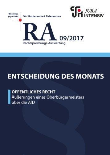 RA 09/2017 - Entscheidung des Monats