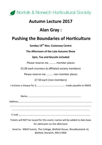 Autumn Lecture 2017 Booking Form