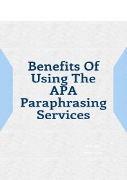 Benefits of Using the APA Paraphrasing Services