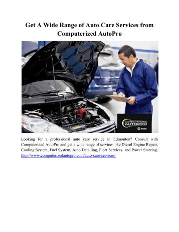 Get A Wide Range of Auto Care Services from Computerized AutoPro