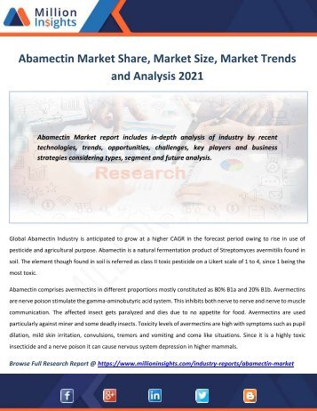 Abamectin Market Share, Market Size, Market Trends and Analysis 2021