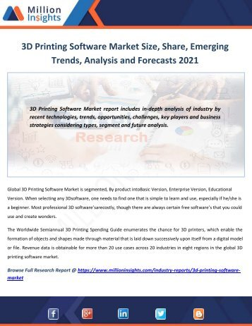 3D Printing Software Market Size, Share, Emerging Trends, Analysis and Forecasts 2021