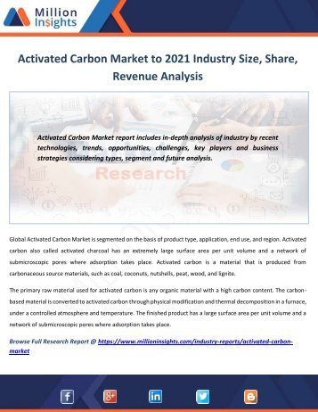 Activated Carbon Market to 2021 Industry Size, Share, Revenue Analysis