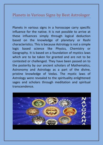 Planets in Various Signs