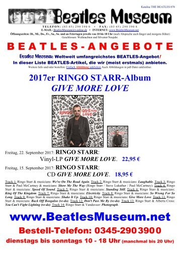 Beatles Museum - Katalog 78 mit Hyperlinks